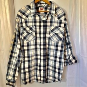 Levi's western plaid pearl snap button down
